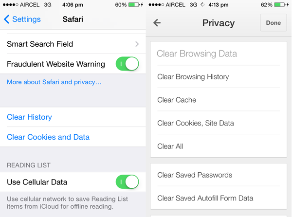 iPhone-browser-cache-clearing-options