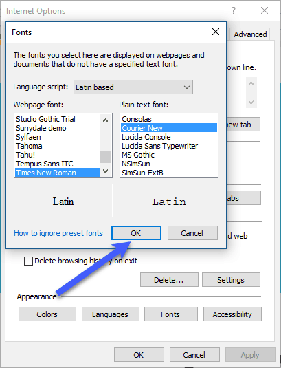 How To Change Font of IE